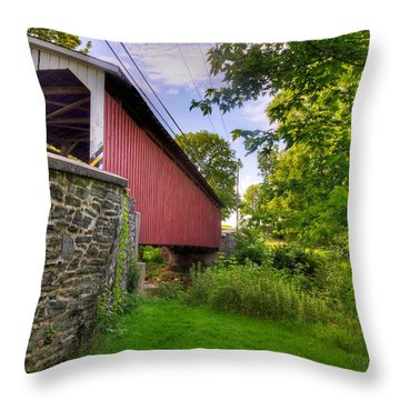 Throw Pillow featuring the photograph Eshelman's Mill Covered Bridge by Jim Thompson