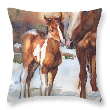 horse painting in watercolor Eskimo Kisses Throw Pillow