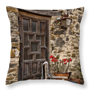 Espada Mission Door Throw Pillow