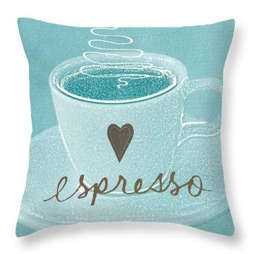 Espresso Love In Light Blue Throw Pillow