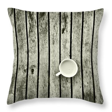 Espresso On A Wooden Table Throw Pillow