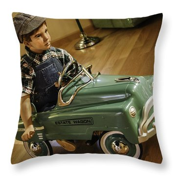 Throw Pillow featuring the photograph Estate Wagon Pedal Truck by Betty Denise
