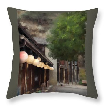 Throw Pillow featuring the painting Estes Park Downtown by Patricia Lintner