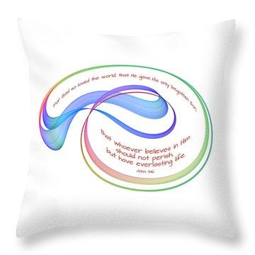 Eternal Life Fractal On White Throw Pillow