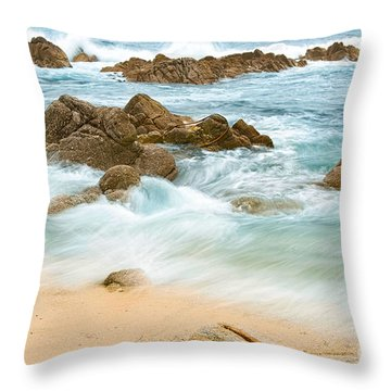 Eternal Waves At Asilomar Beach In Monterey Bay. Throw Pillow