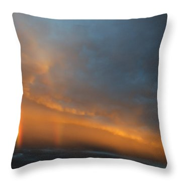 Ethereal Clouds And Rainbow Throw Pillow by Greg Reed