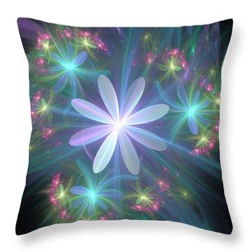 Throw Pillow featuring the digital art Ethereal Flower In Blossom by Svetlana Nikolova