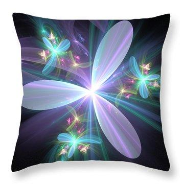 Throw Pillow featuring the digital art Ethereal Petals by Svetlana Nikolova