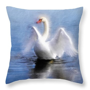 Ethereal Swan Wings Throw Pillow