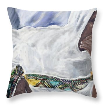 Ethiopian Orthodox Jewish Woman Throw Pillow by Vannetta Ferguson