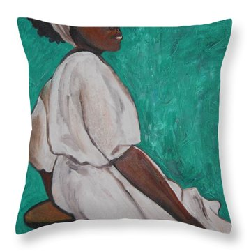 Ethiopian Woman In Green Throw Pillow by Esther Newman-Cohen
