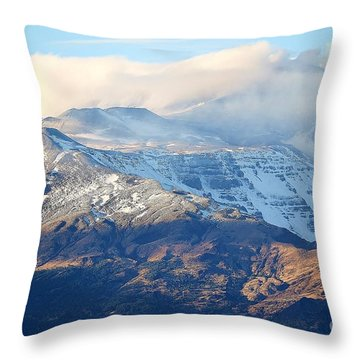 Throw Pillow featuring the photograph Etna With Snow by Kathleen Pio