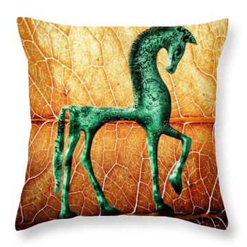 Etruscan Horse Throw Pillow