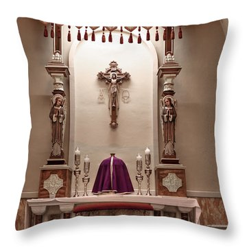 Throw Pillow featuring the photograph Eucharistic Altar by Cecil Fuselier