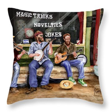 Eureka Springs Novelty Shop String Quartet Throw Pillow