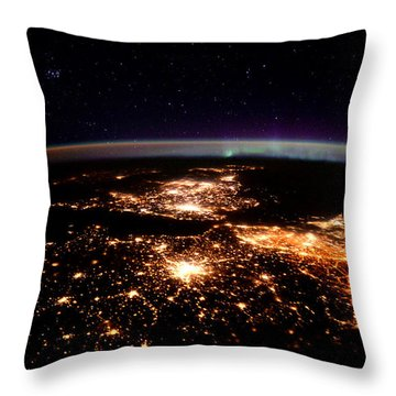 Europe At Night, Satellite View Throw Pillow