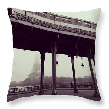 Metro And The Eiffel Tower Throw Pillow