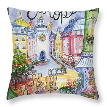 Europe United Airlines Throw Pillow