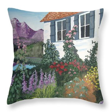 Throw Pillow featuring the painting European Flower Garden by Norm Starks