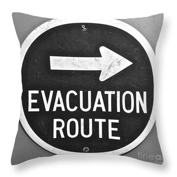 Evacuation Route Black And White Throw Pillow