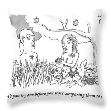 Eve Hands An Apple To Adam In The Garden Of Eden Throw Pillow