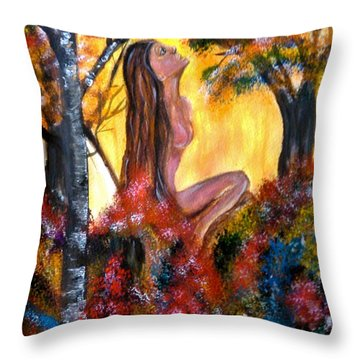 Throw Pillow featuring the painting Eve In The Garden by Lori  Lovetere