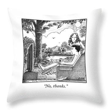 Eve Offers Adam An Apple Throw Pillow
