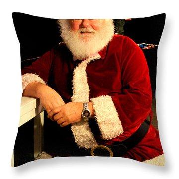 Even Santa Needs A Break Throw Pillow by Kathy  White