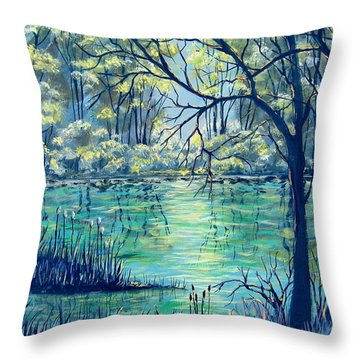 Throw Pillow featuring the painting Evening At The Bayou by Suzanne Theis