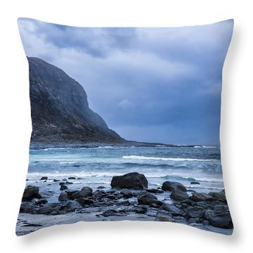 Evening At The Seaside In Rain Throw Pillow