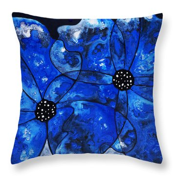 Evening Bloom Blue Flowers By Sharon Cummings Throw Pillow by Sharon Cummings