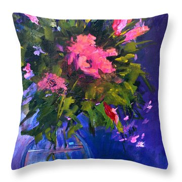 Evening Blooms Throw Pillow