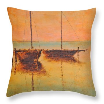 Evening Boats Throw Pillow