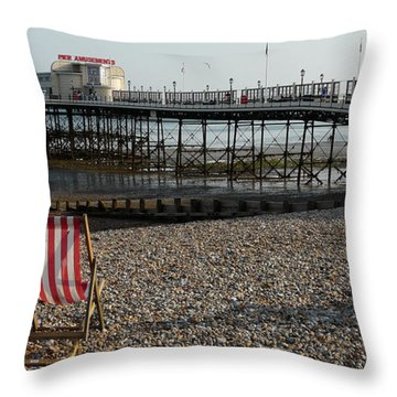 Evening By The Pier Throw Pillow by John Topman