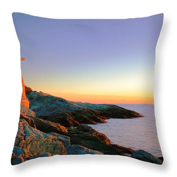 Evening Calm At Castle Hill Lighthouse Throw Pillow by Roupen  Baker