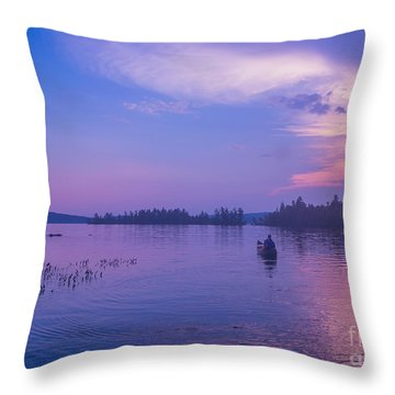 Evening Canoeing  Throw Pillow
