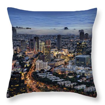 Throw Pillow featuring the photograph Evening City Lights by Ron Shoshani