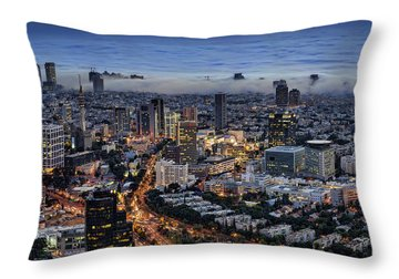 Evening City Lights Throw Pillow by Ron Shoshani