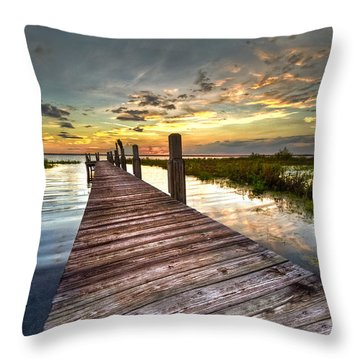 Evening Dock Throw Pillow