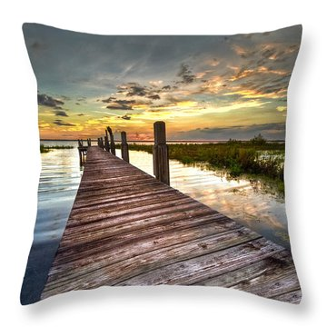 Throw Pillow featuring the photograph Evening Dock by Debra and Dave Vanderlaan