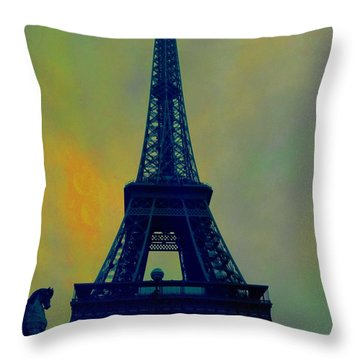 Evening Eiffel Tower Throw Pillow