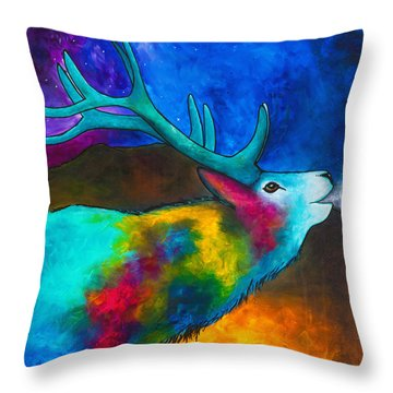 Evening Elk Throw Pillow