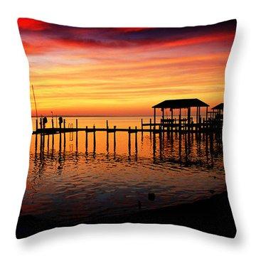 Evening Enchantment At The Hilton Pier Throw Pillow