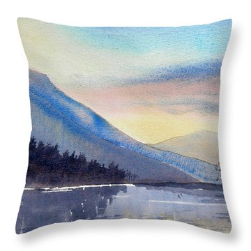 Evening Falls On Lake Windermere Throw Pillow