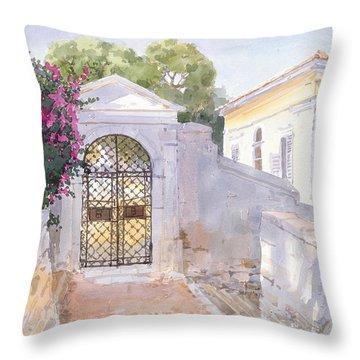 Evening Hroussa Throw Pillow by Lucy Willis