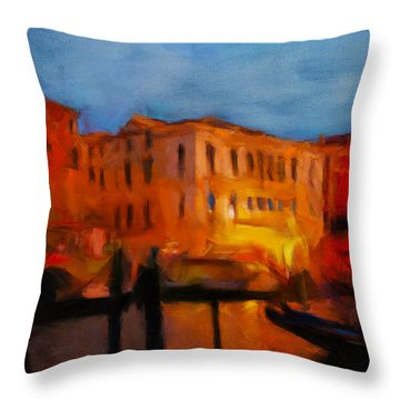 Evening In Venice Throw Pillow
