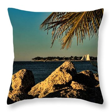 Throw Pillow featuring the photograph Evening Key West Sail by Pamela Blizzard