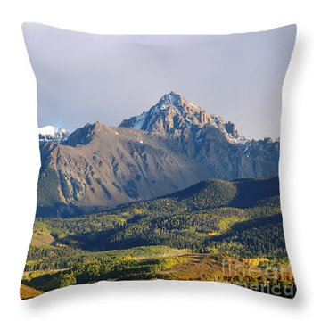 Evening Light On The Sneffels Range Throw Pillow by Alex Cassels