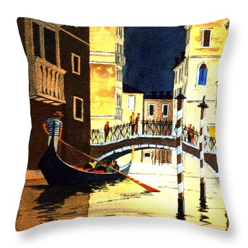 Throw Pillow featuring the painting Evening Lights - Venice by Bill Holkham