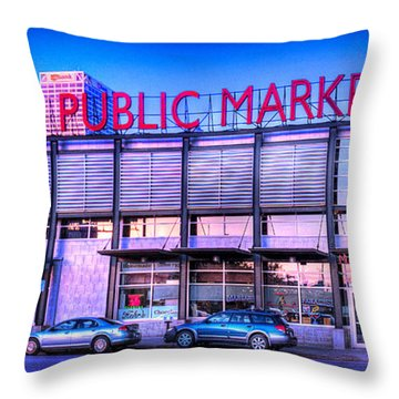 Evening Milwaukee Public Market Throw Pillow
